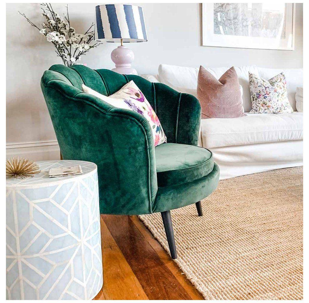 Chantal Scallop Velvet Accent Chair Dark Forest Green Velvet Accent Chair Velvetaccentcha Accent Chairs For Living Room Accent Chairs Velvet Accent Chair