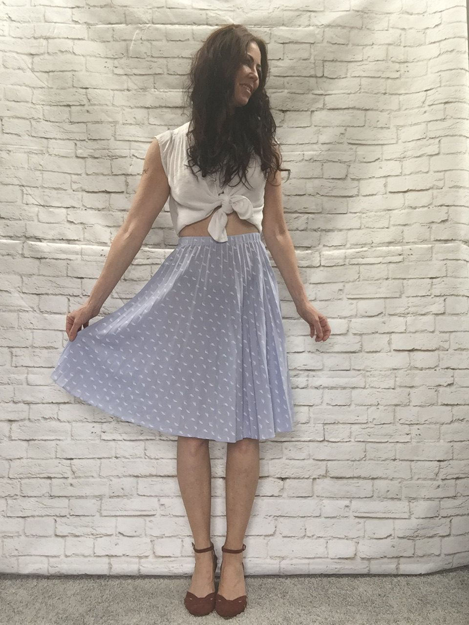 Vintage 80s Art Deco Print Pleated Skirt XS High Waist Swing Knee Length Lavender Gray by PopFizzVintage on Etsy