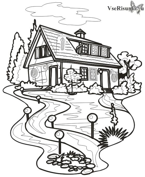 Раскраска Дом (СКАЧАТЬ/РАСПЕЧАТАТЬ) - Строения - Раскраски ...
