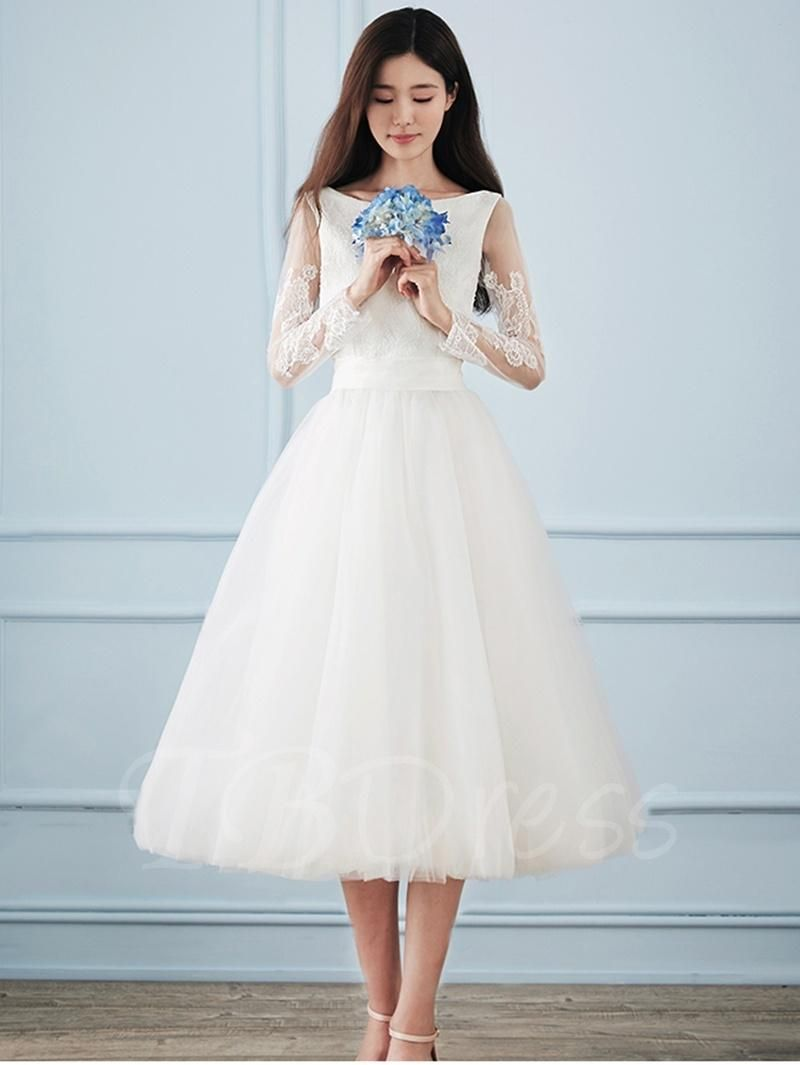 Adorewe tbdress appliques long sleeve tealength wedding dress