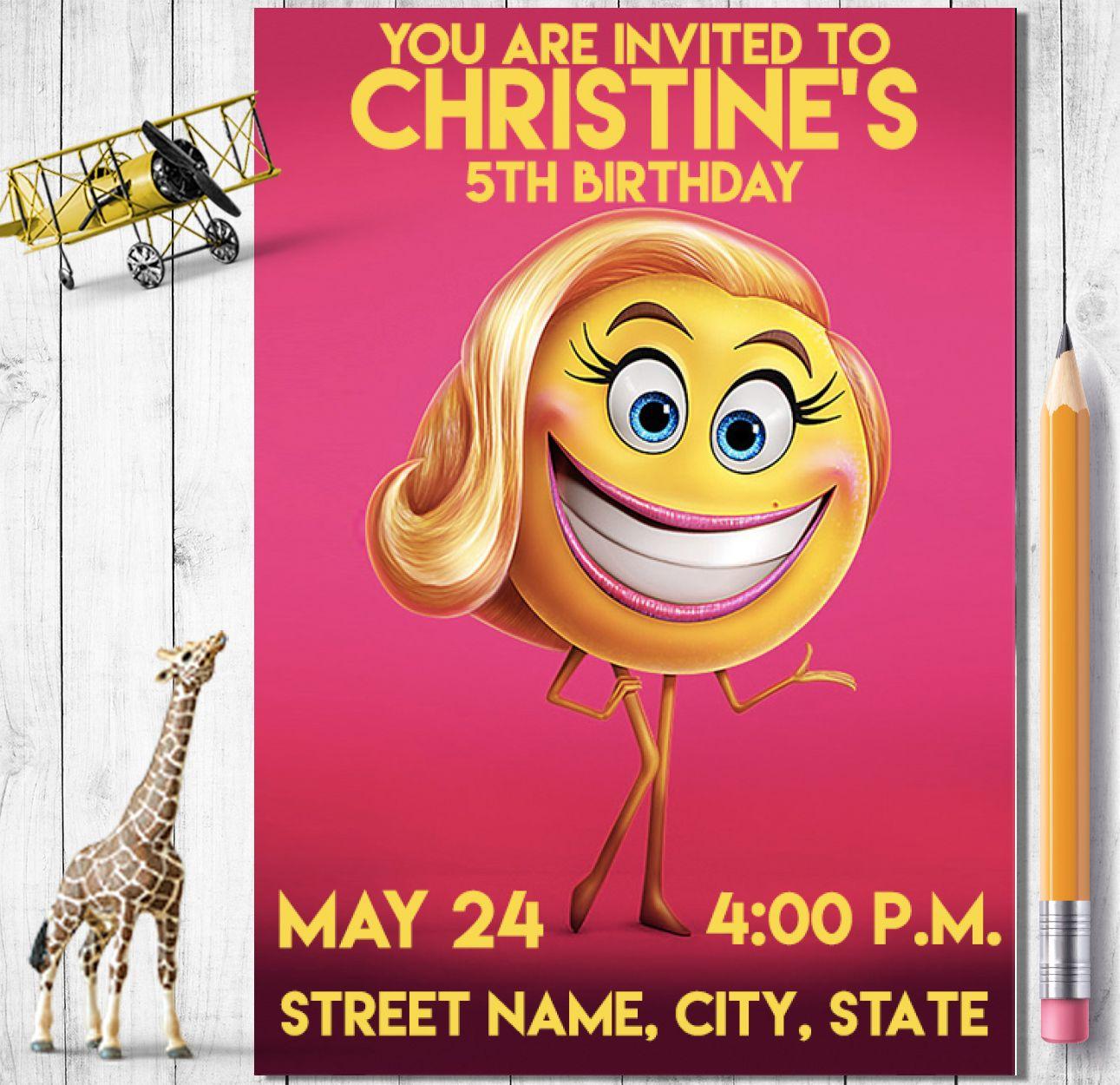 Emoji Movie Birthday Invitation