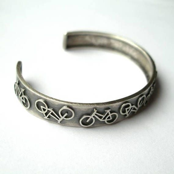 Lots Of Bicycles Silver Cuff Bracelet Bike Bracelet Gift For