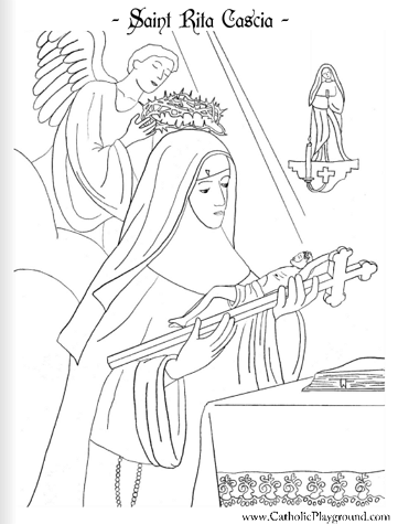 Saint Rita of Cascia coloring page: May 22nd - Catholic Playground ...