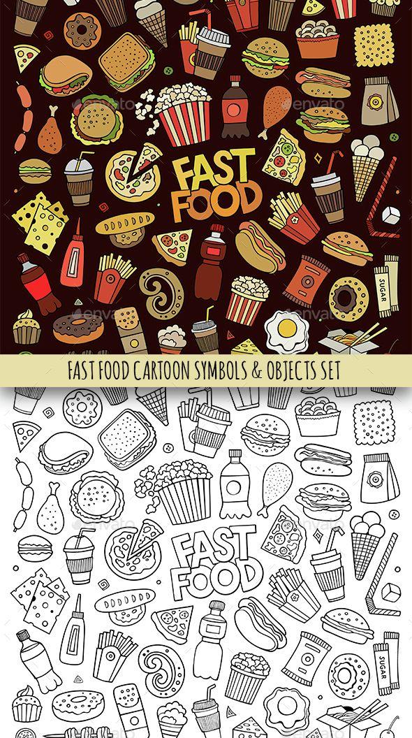 Fast Food Doodles Objects Set Food Vectors Creative Pinterest