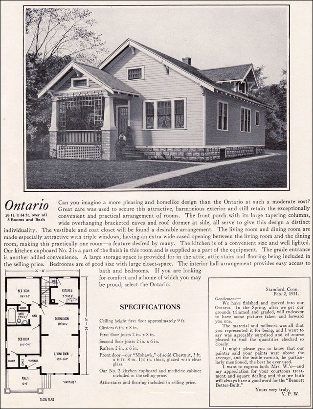 1922 Bennett Homes The Ontario  1920s Simple  Bungalow