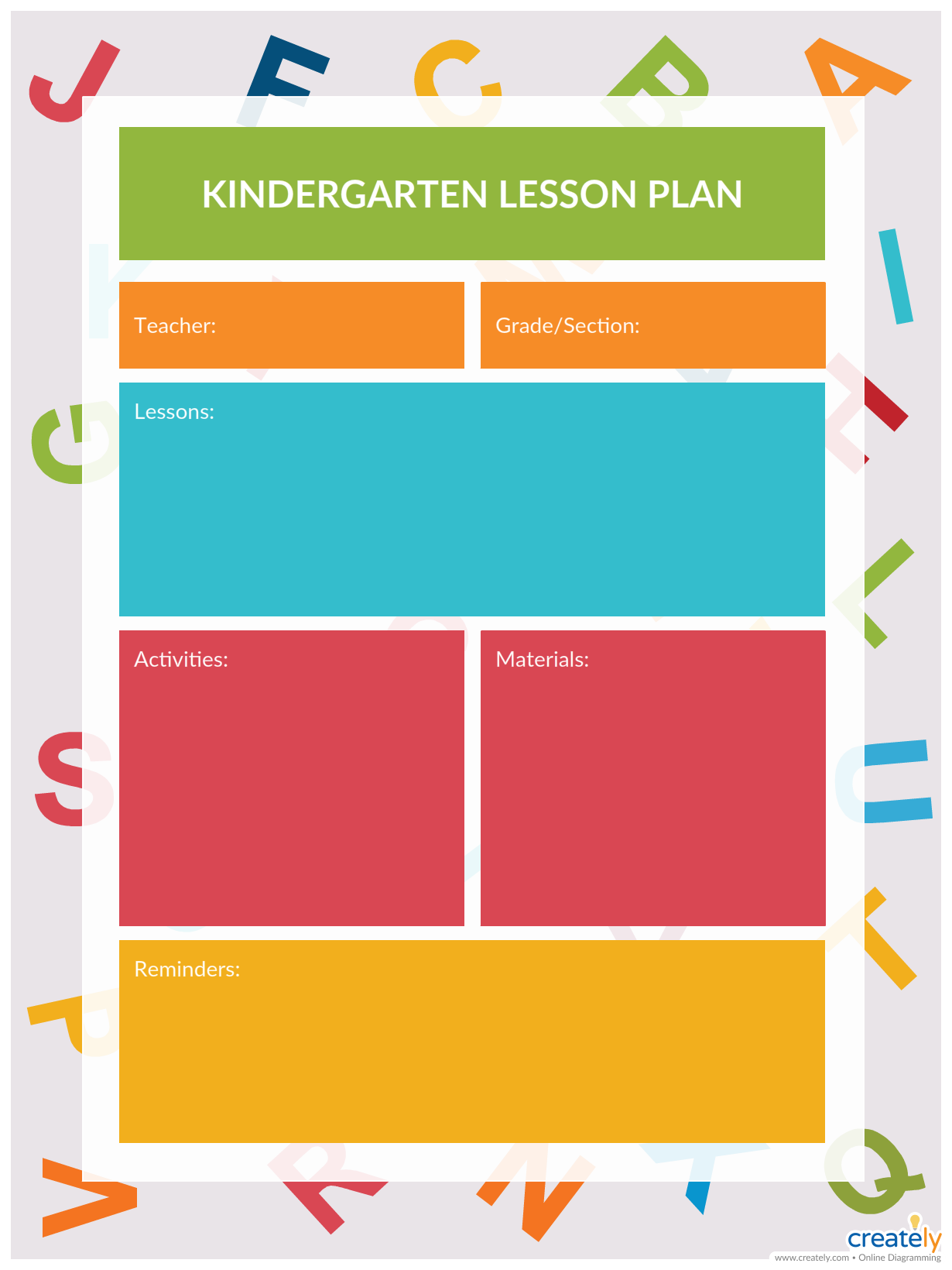 give your class a head start on essential elementary school skills with this kindergarten lesson plan template use creately s easy online diagram editor to  [ 1230 x 1640 Pixel ]