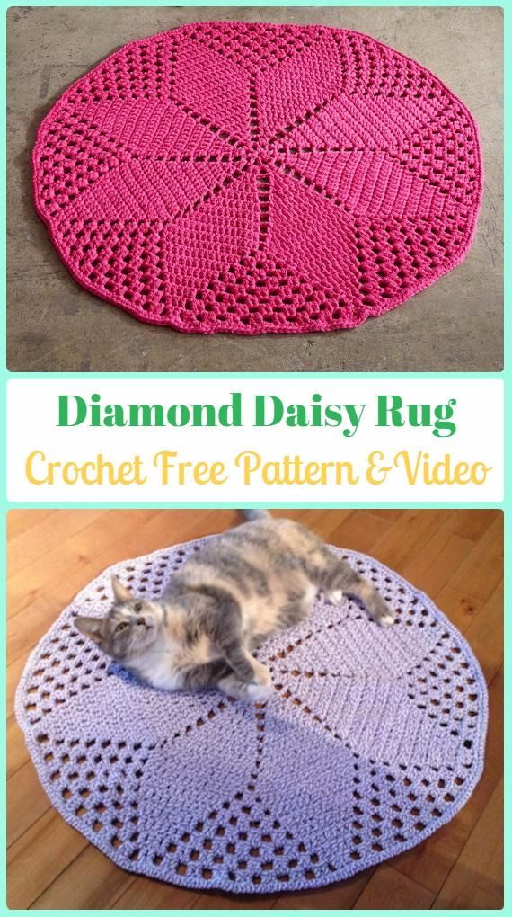 Crochet Diamond Daisy Rug Free Pattern Video Crochet Area Rug