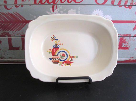 Vintage Homer Laughlin Serving Bowl Beyond Mexicana Red Pig Go & Vintage Homer Laughlin Serving Bowl Beyond Mexicana Red Pig Go ...