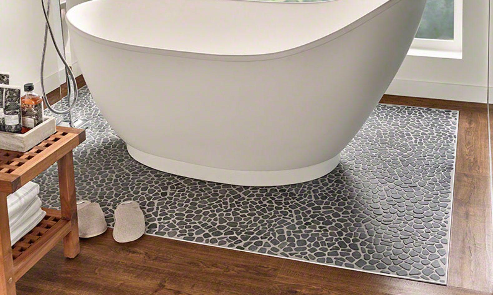 Image result for freestanding tub on pebble tile Free