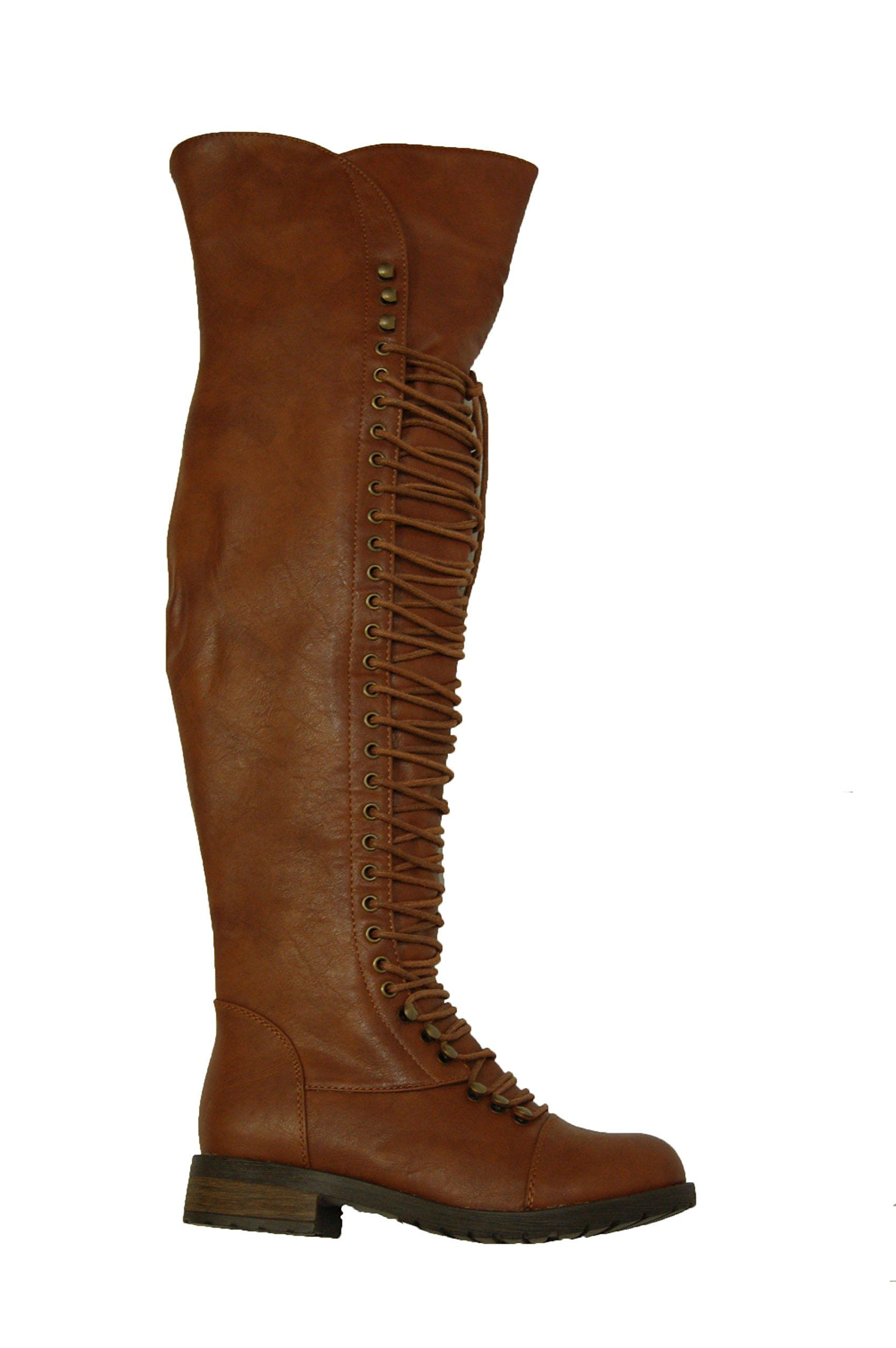 46339ac1ac1c Herstyle Kristrrina Women Military Lace Up Thigh High Combat Bootss Brown 7  * Details can be found by clicking on the image. (This is an affiliate  link) # ...