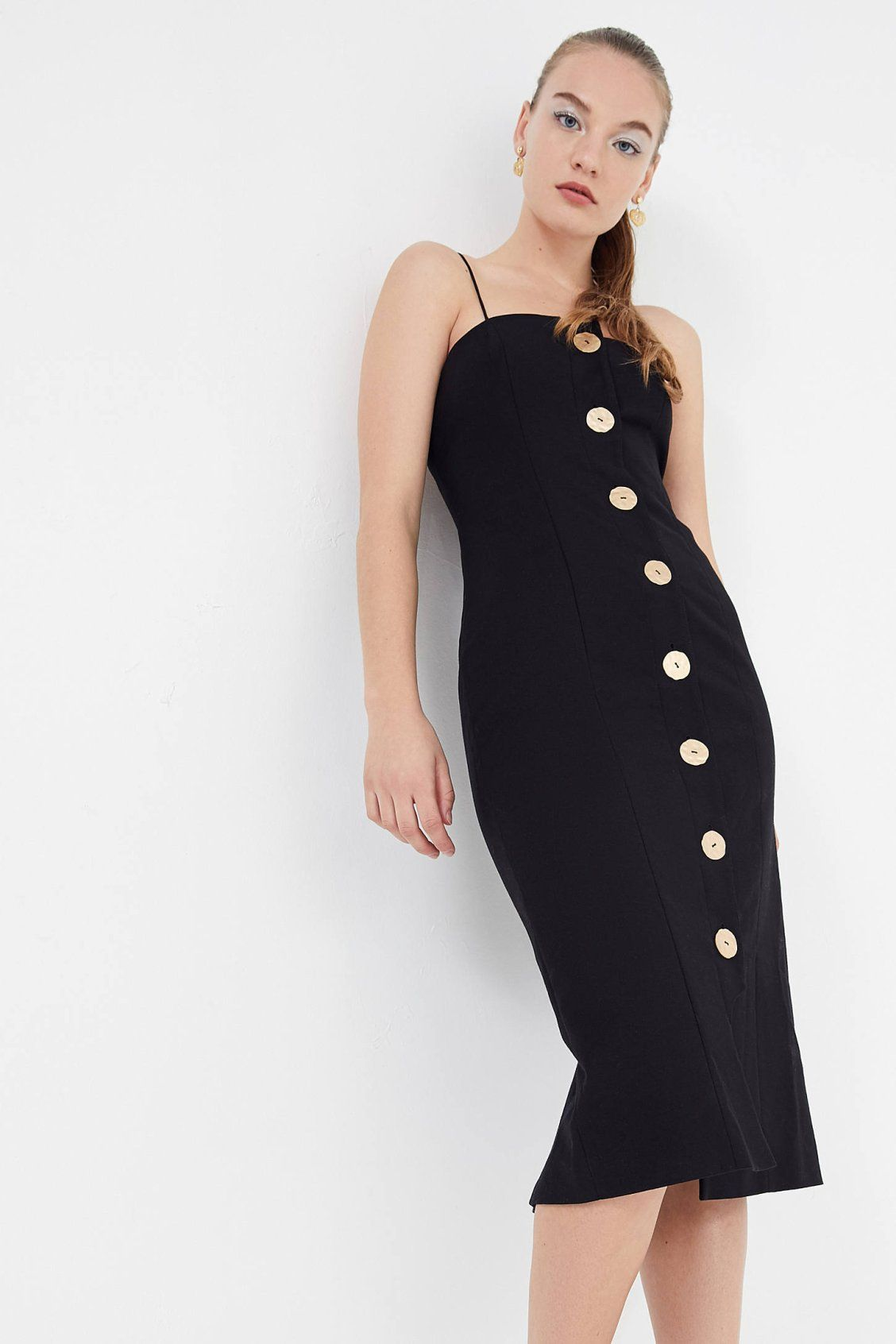e643007077a5 Finders Keepers Pompeii Button-Front Midi Dress | Urban Outfitters