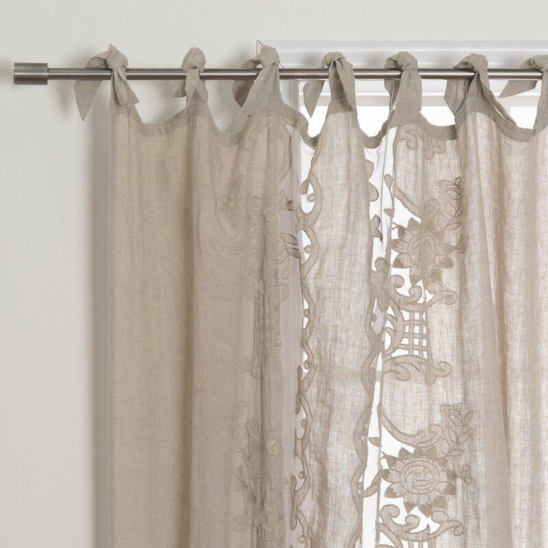 embroidered linen floral semi sheer