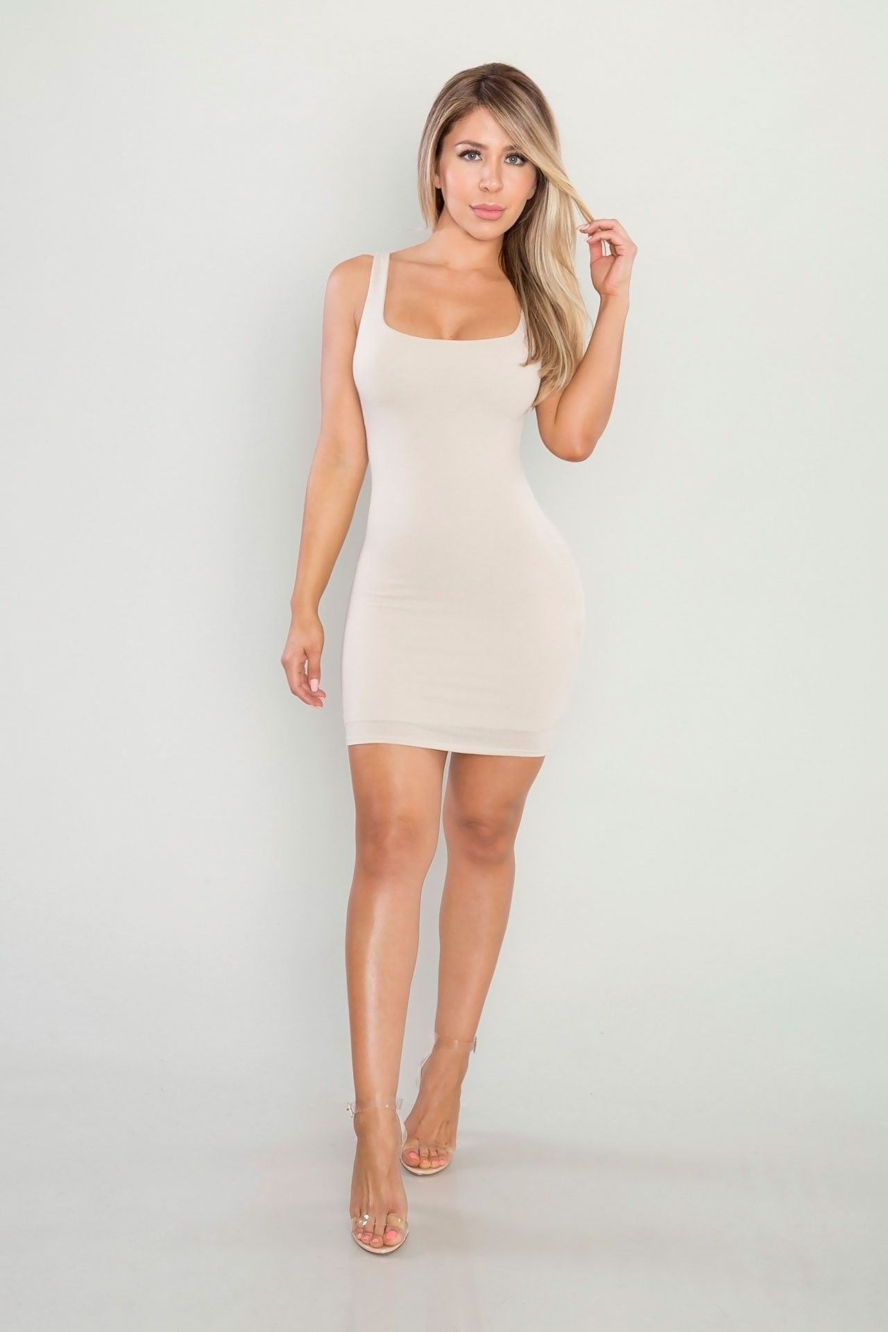 6ea542581d9 Essential Tank Mini Dress - Nude