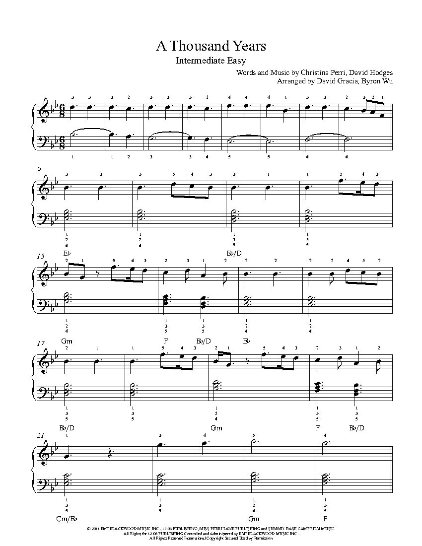 A Thousand Years By Christina Perri Piano Sheet Music