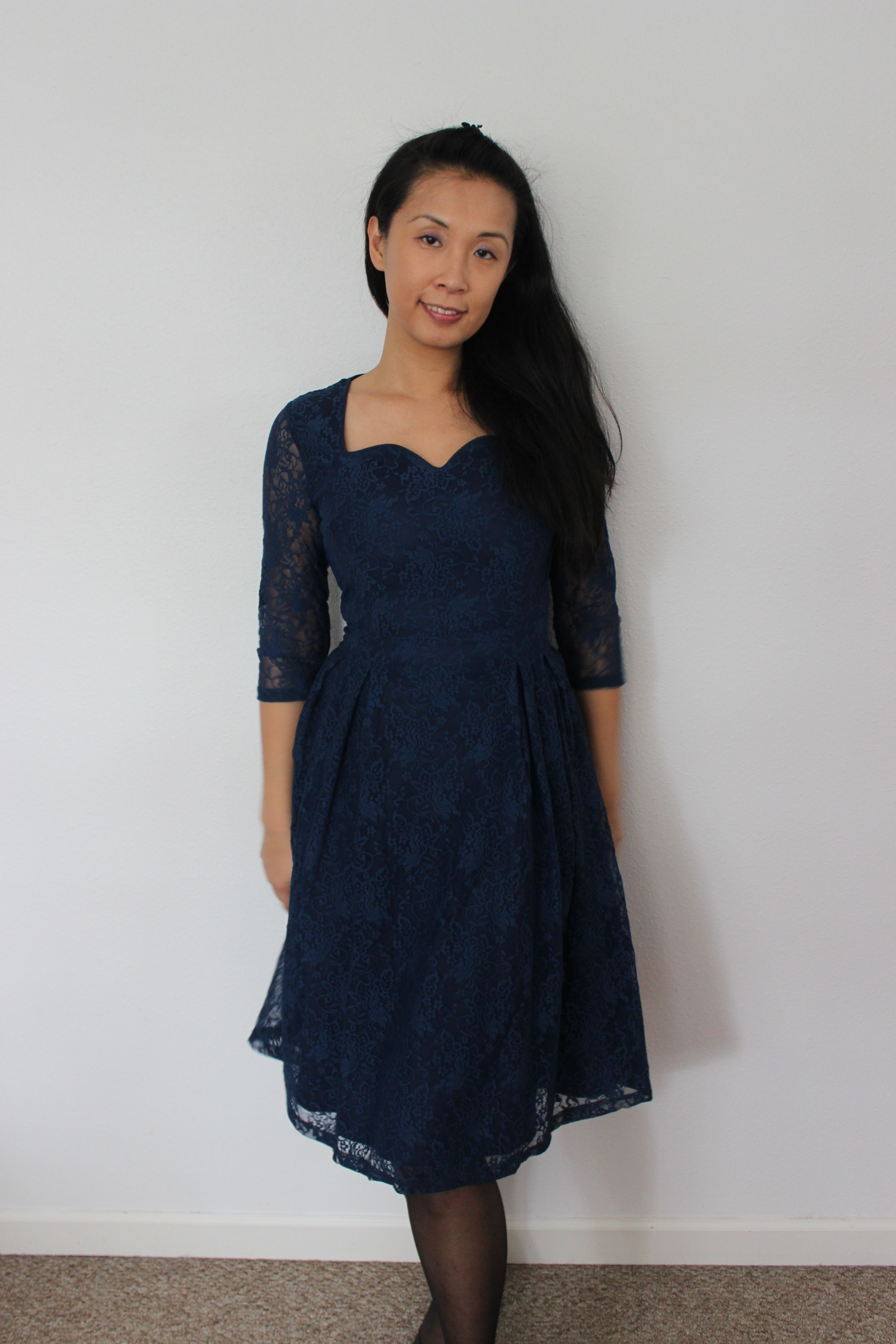 Lindy bop lisette 39 exquisitely elegant deep blue lace for Lindy bop wedding dress