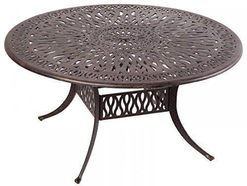 Elizabeth Outdoor Patio 60 Round Dining Table Dark Bronze Cast Aluminum Amazon Most Trusted E R Patio Dining Table 60 Round Dining Table Wicker Dining Tables 60 round outdoor dining table