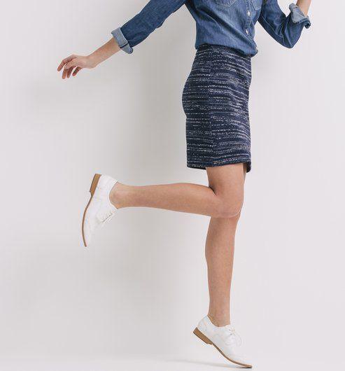 6d8ebf14485c93 Jupe courte Femme rayé bleu - Promod   BDO   Jupe courte, Jupe et ...