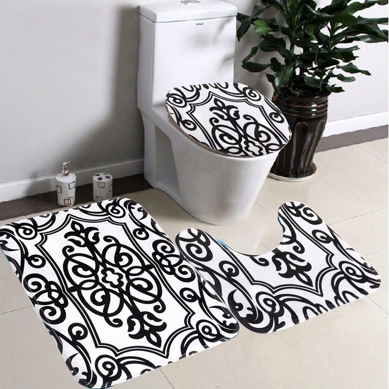 3Pcs Bath Pedestal Rug Lid Toilet Mat Seat Cover  Products Magnificent Black And White Bathroom Rugs Design Inspiration