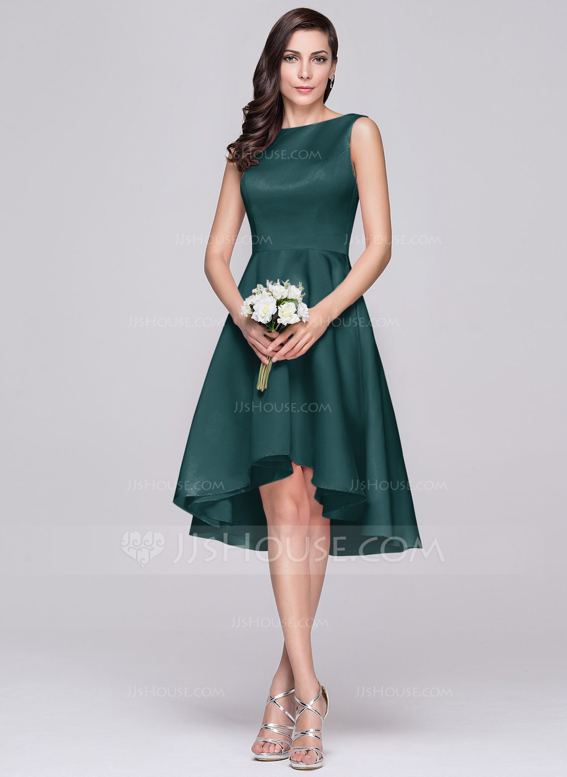 01564081d10b A-Line/Princess Scoop Neck Asymmetrical Satin Bridesmaid Dress (007060608)  - Bridesmaid Dresses - JJsHouse