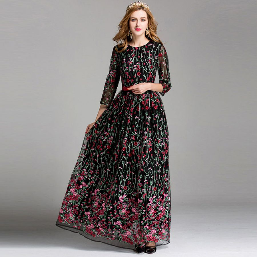 Click to buy ucuc high quality vintage floral embroidery long runway