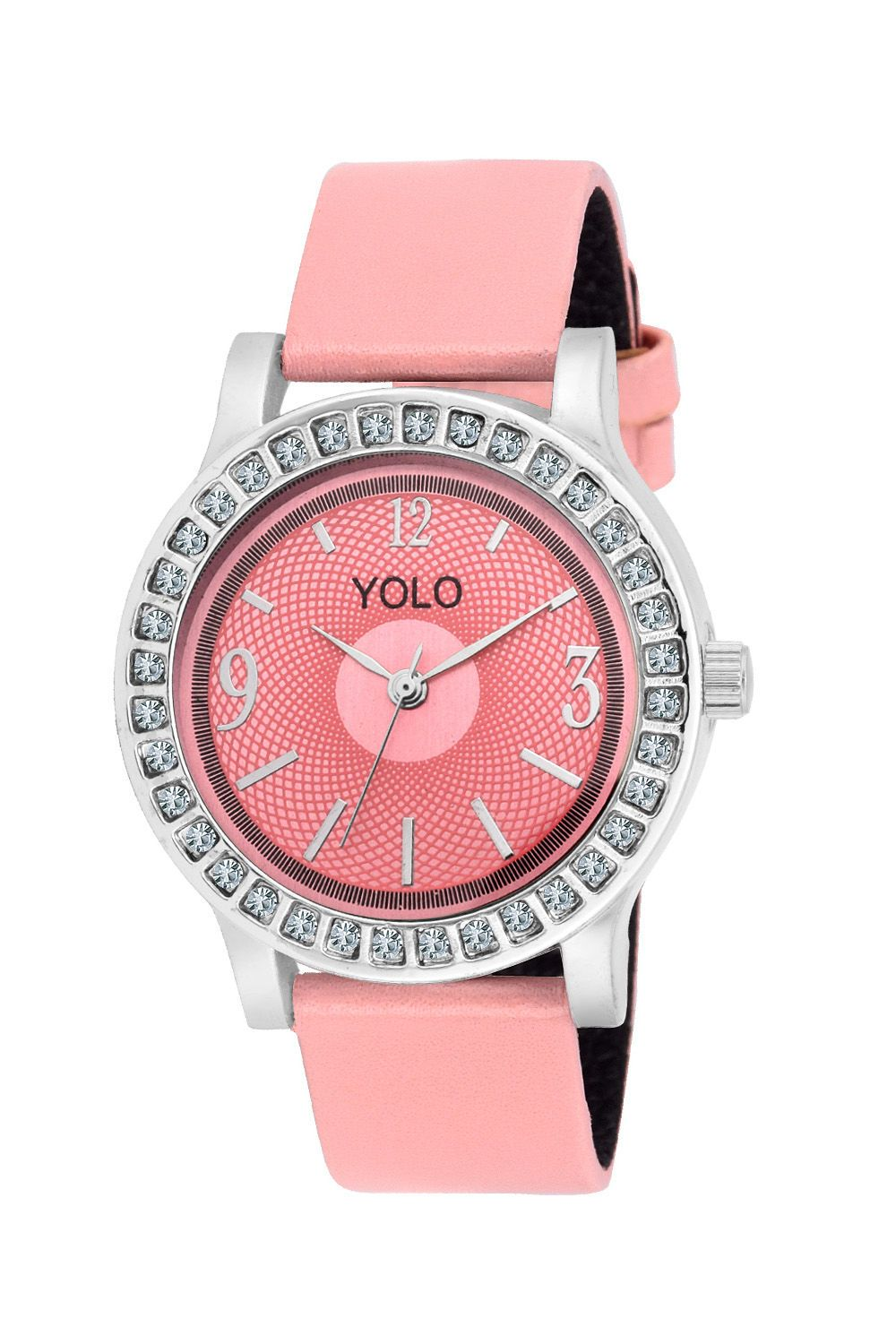 YOLO Women's Pink Dial Analog Wrist Watch with Pink Leather Strap Is A Unique And Innovative Product In The Wrist Watches Market. This Amazing, Stylish Fashion Watch Has Arrived To Complement Your Look And Attitude
