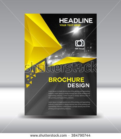 Yellow And Black Vector Brochure Cover Design Polygon Background