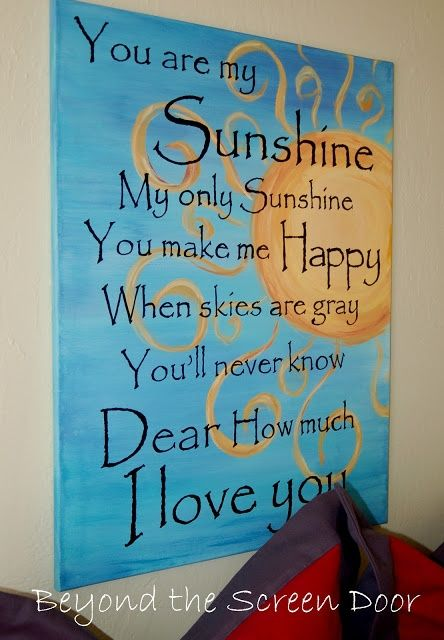 You Are My Sunshine Art Canvas   Beyond the Screen Door for my Daughters