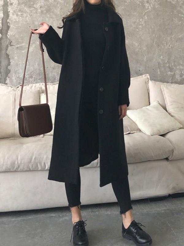 New Black Pockets Turndown Collar Long Sleeve Fashion Coat