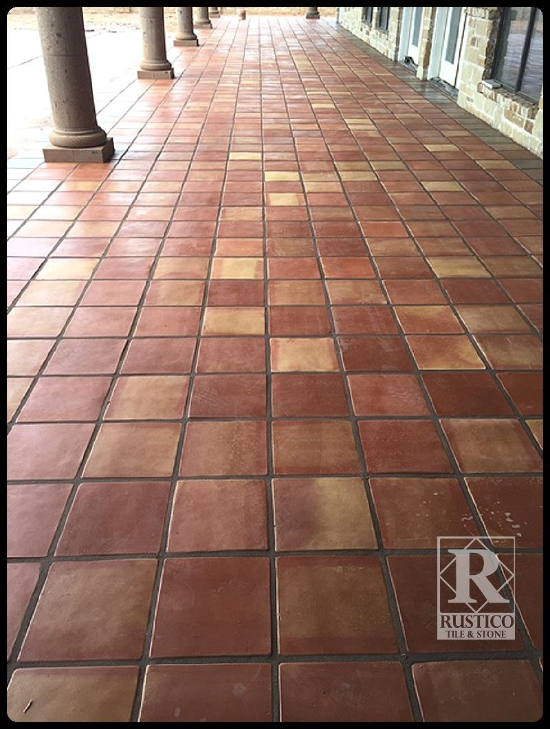 12x12 Traditional Sealed Mexican Saltillo Tile This Terracotta Flooring Has Taupe Colored Grout For A Neutral Look Saltillo Tile Saltillo Tile Floor Flooring