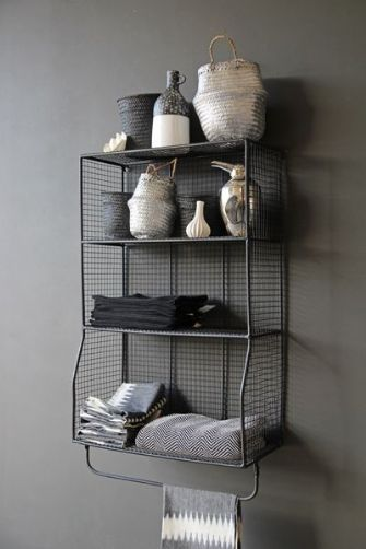 Gorgeous industrial style wire shelves - Utility Hanging Shelves With Rail