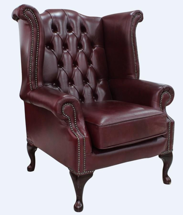 Details About Chesterfield Armchair Queen Anne High Back Wing
