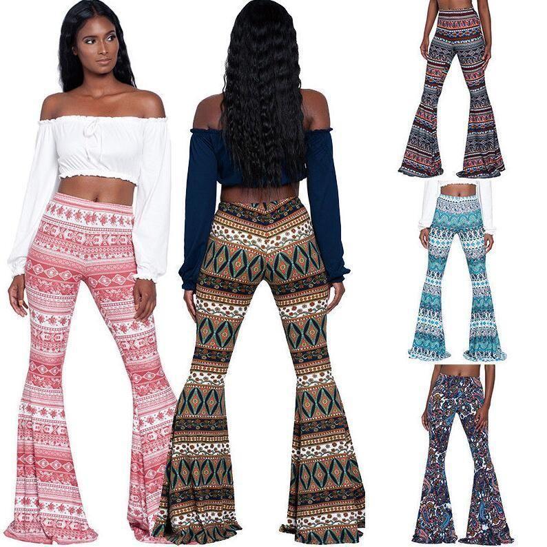 c12642f6dec  10.44 - Women s Boho Hippie High Waist Printed Wide Leg Long Flared Bell  Bottom Pants  ebay  Fashion
