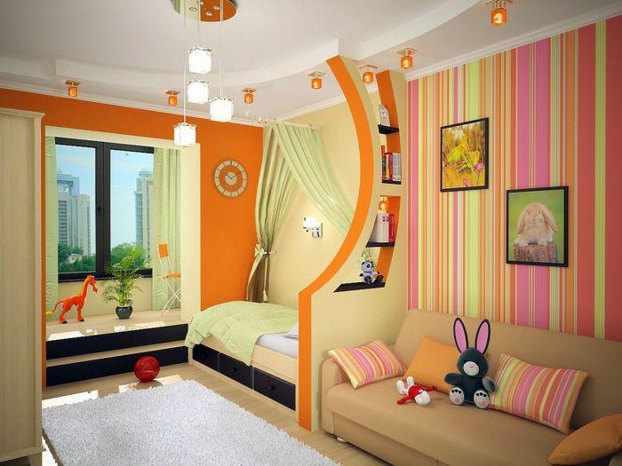 wohnideen kinderzimmer bereiche orange wände weißer teppich