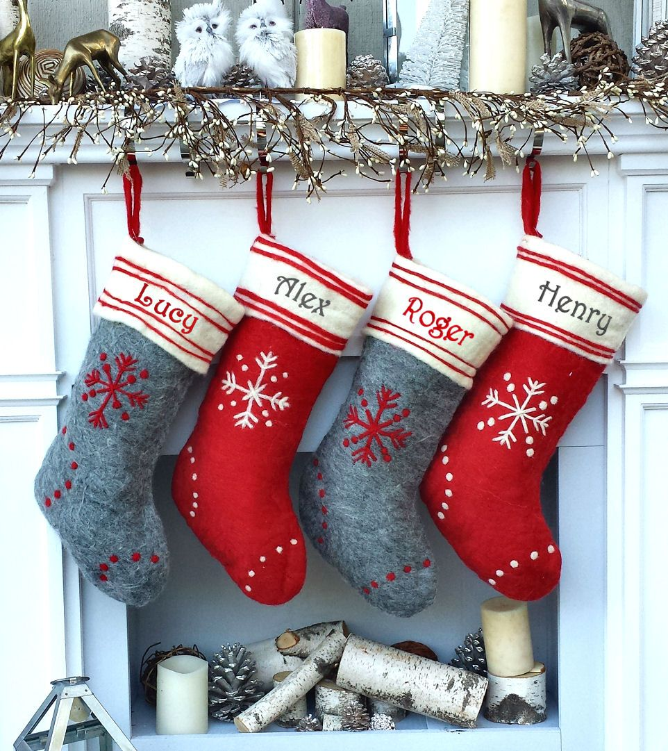 Red Grey Hand Stitched Snowflake Personalized Personalized Christmas Stockings Christmas Stockings Scandinavian Christmas Decorations Grey Christmas Decor