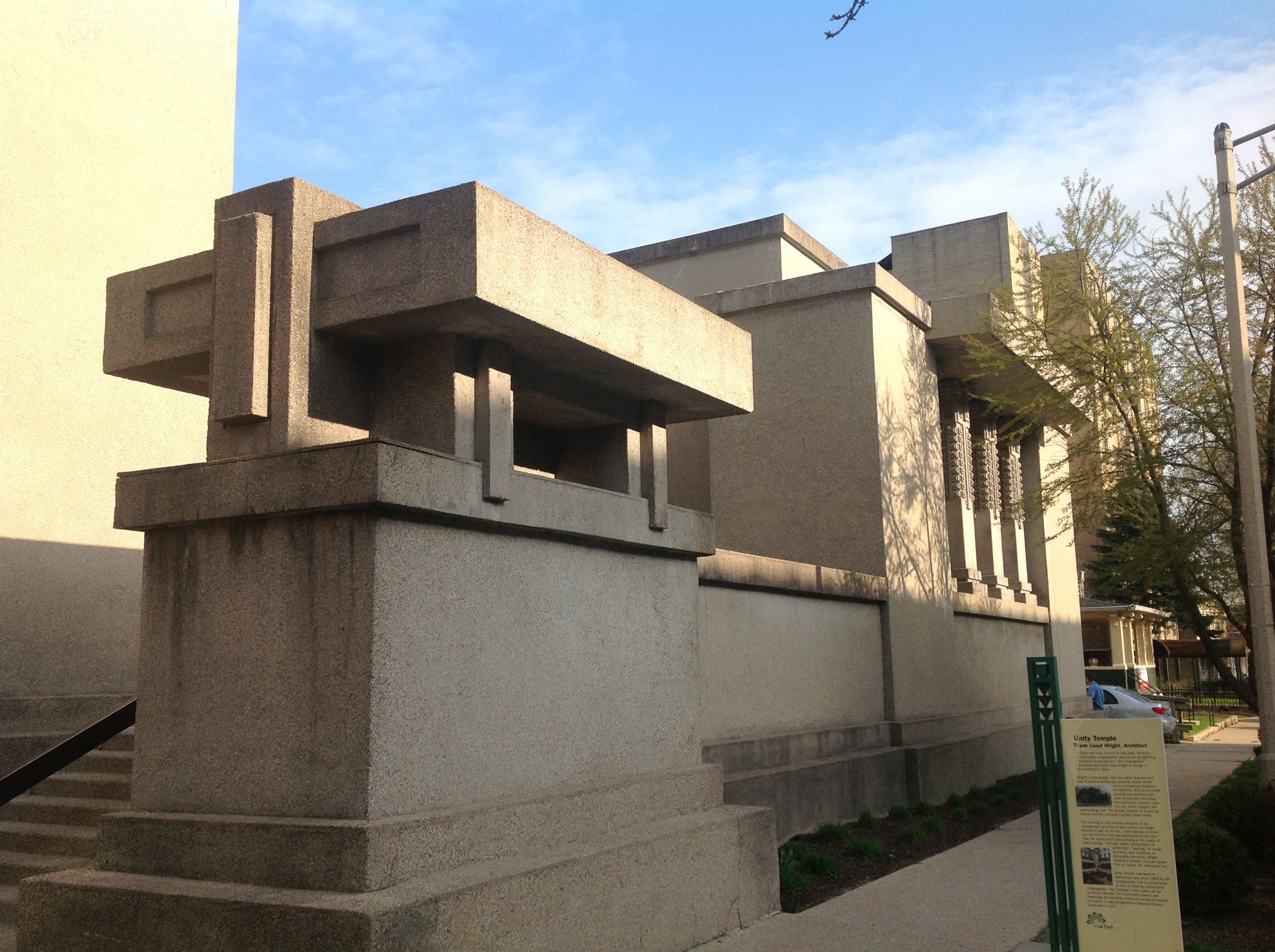 Unity Temple in Oak Park, Illinois, designed by architect Frank Lloyd Wright