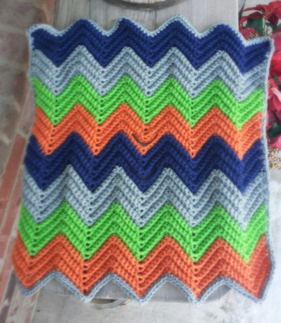 Crochet chevron baby blanket with holes for car seat straps ...