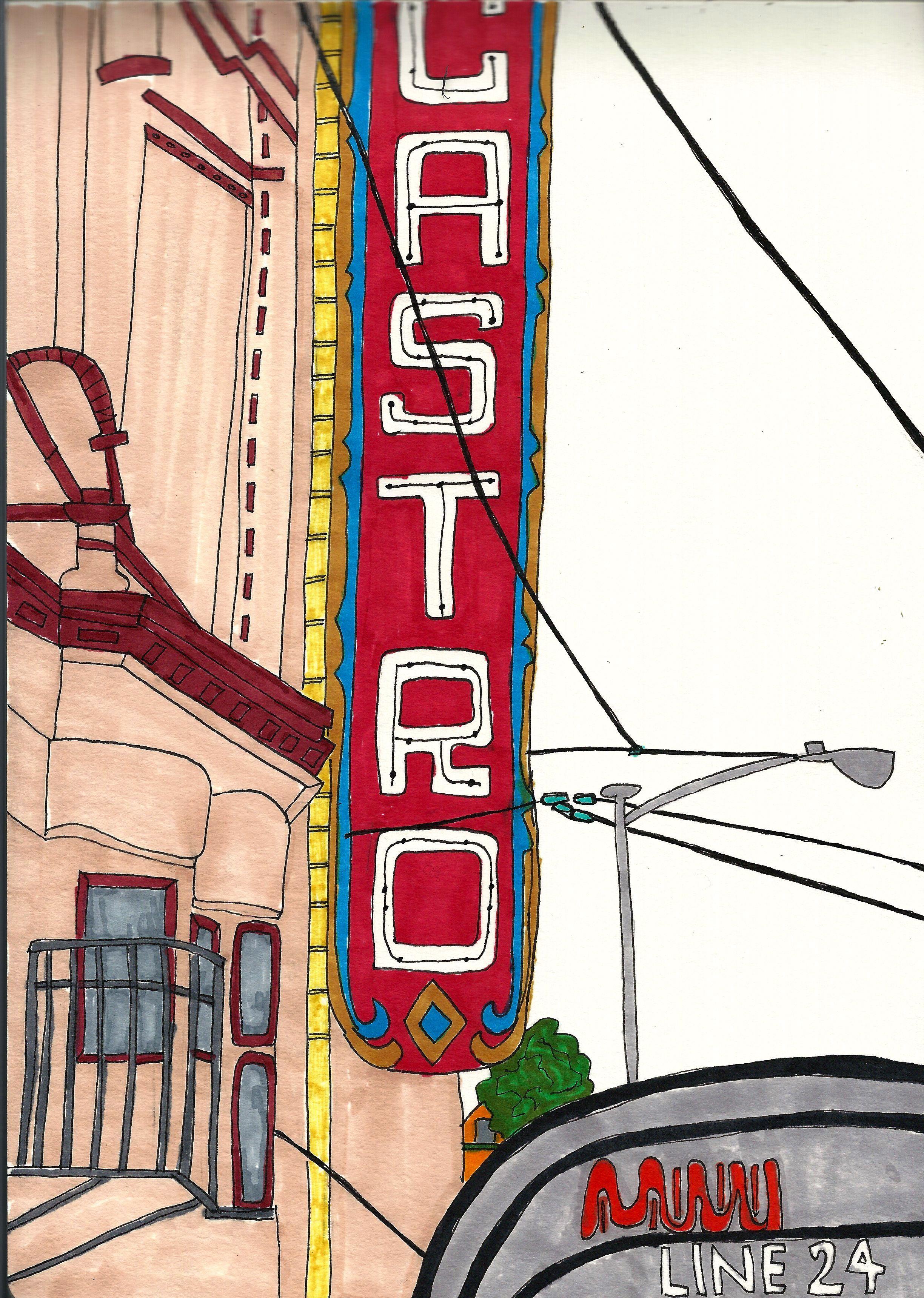 Castro, San Francisco. #travel #California #SanFrancisco #Castro #theater #architectural #drawing #illustration