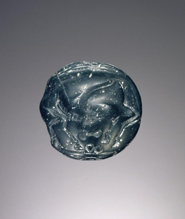 Unknown, Lentoid engraved seal, Minoan or Mycenaean, about 1550 B.C. - 1400 B.C., Jasper - See more at: http://search.getty.edu/gateway/search?q=&cat=type&types=%22Jewelry%22&rows=50&srt=&dir=s&dsp=0&img=0&pg=3#sthash.QYjsa0HE.dpuf