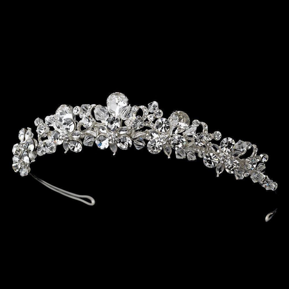 Fabulous Silver Clear Crystal Tiara Headpiece 9840