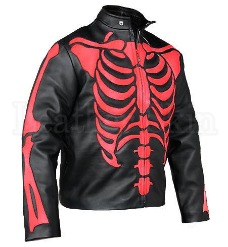 Mens Big And Tall Black And Red Skeleton Biker Leather