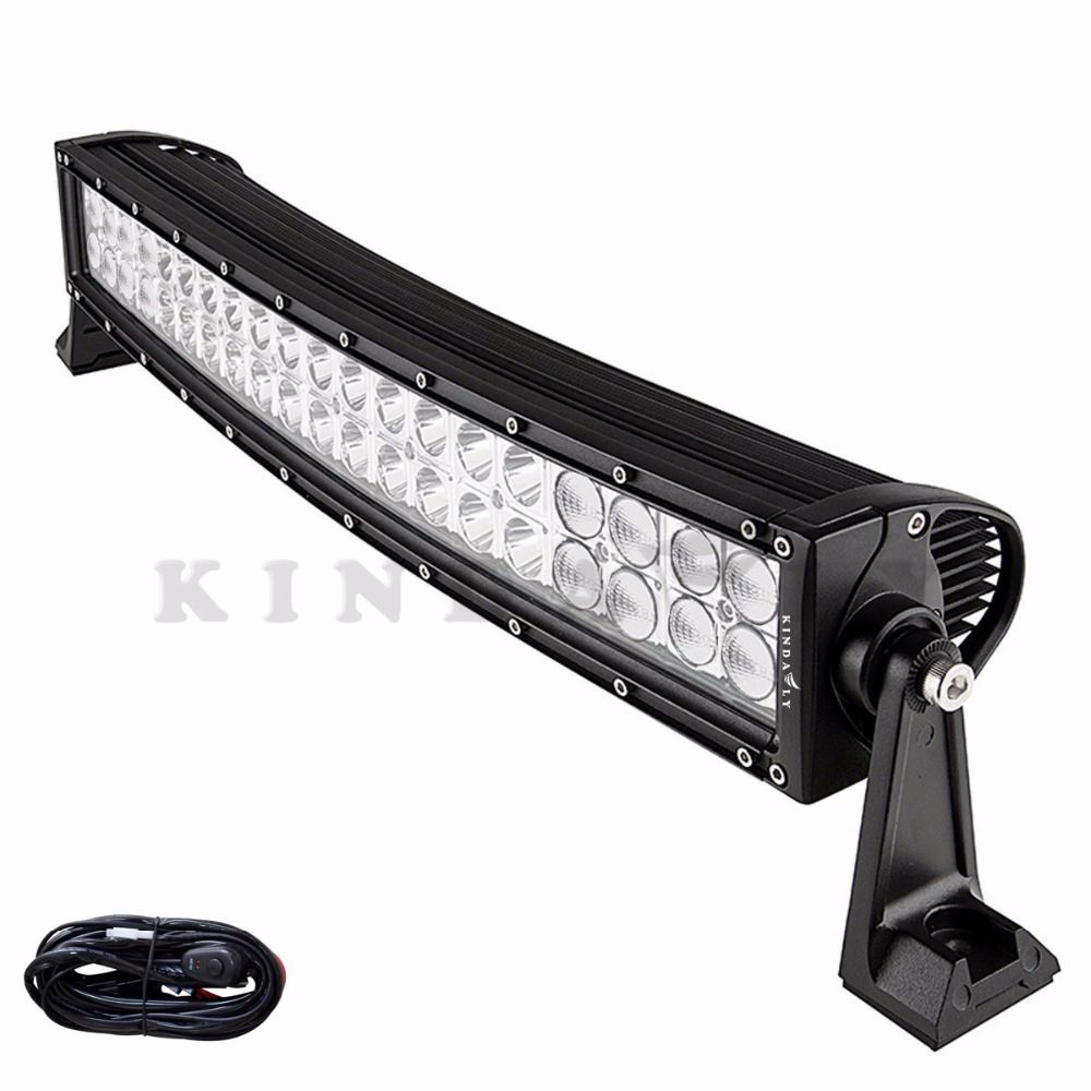 Led Spotlights Wiring Harness Kindafly Ip68 24 Inch 200w Curved Off Road Light Bar With Kit Spot Flood Combo For Jeep Boat Suv Car Atv H3