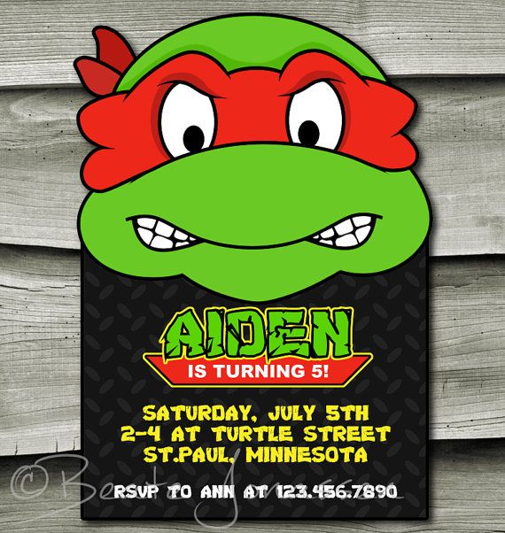 Ninja Turtle Birthday Invitation Pizza PARTY Ninja Turtles