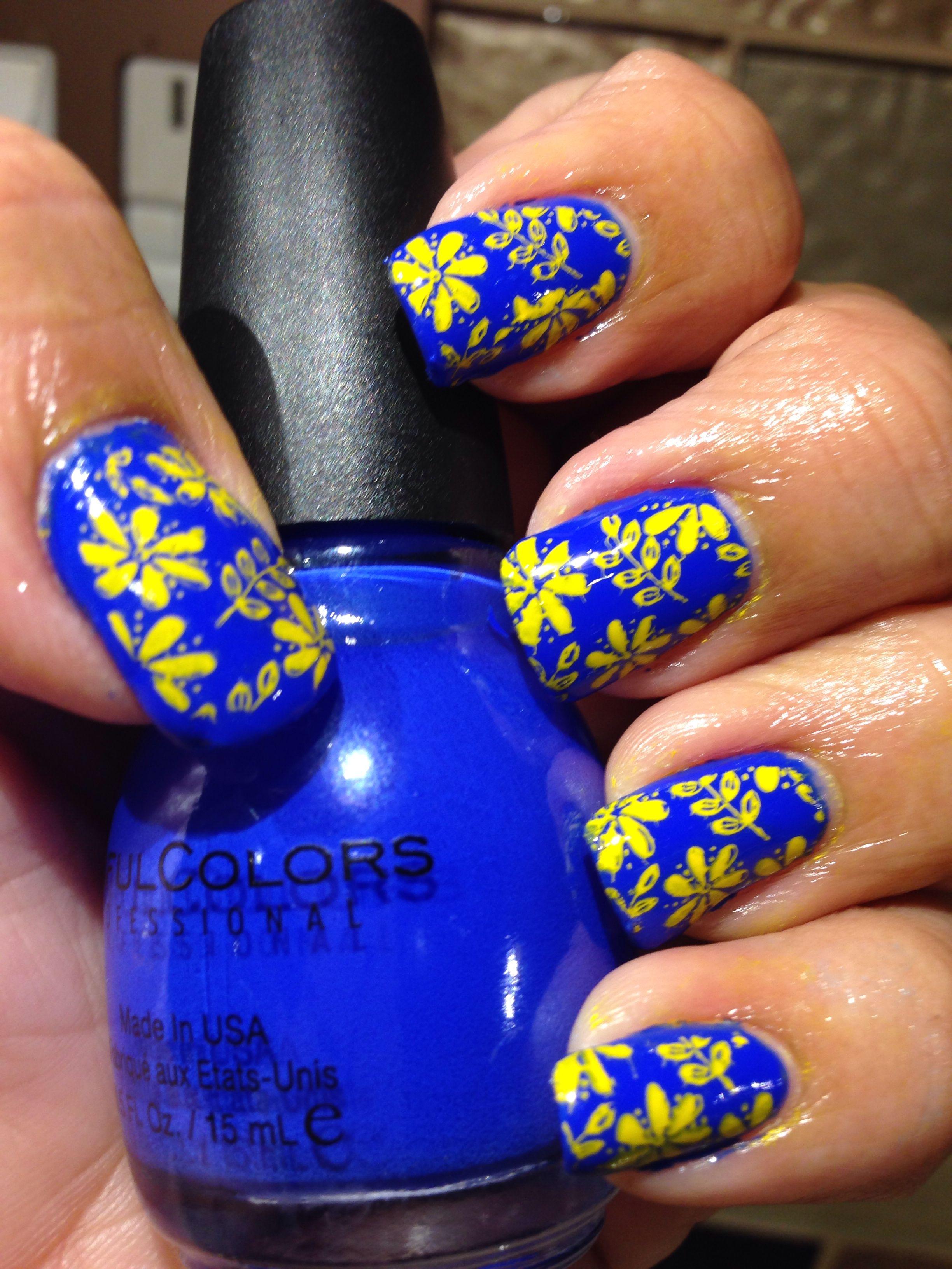 Royal Blue Yellow Royal Blue Nails Yellow Nails Design Blue Toe Nails