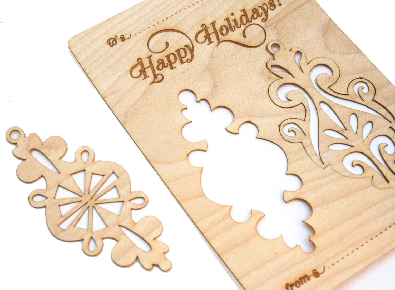 wood christmas card with ornaments laser cut by ppointcreates 900 - Laser Cut Christmas Cards