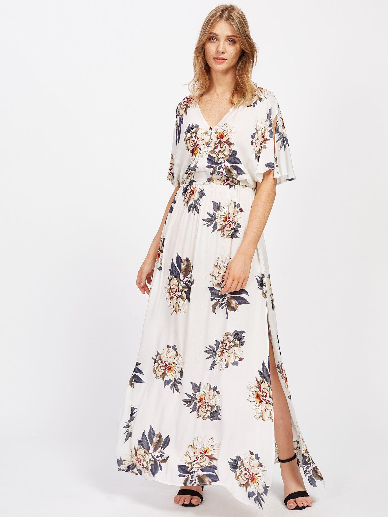 e891d7184ff Shop Plunging V-Neckline Tie Waist Maxi Dress online. SheIn offers Plunging  V-Neckline Tie Waist Maxi Dress   more to fit your fashionable needs.