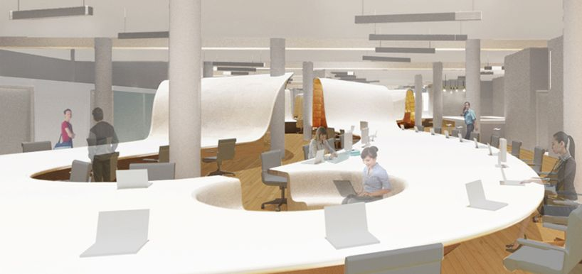 the office super desk. Clive Wilkinson Designs Undulating Desk For The Barbarian Group Office Super