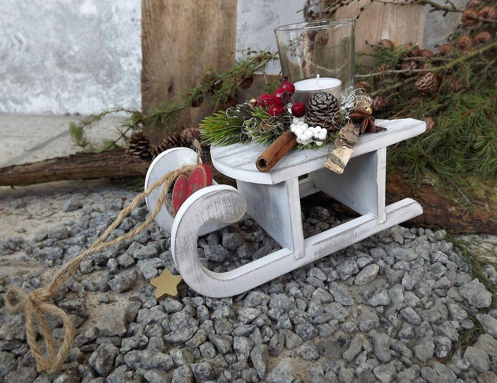 holz schlitten gesteck mit teelicht grau natur weihnachten advent florales design. Black Bedroom Furniture Sets. Home Design Ideas