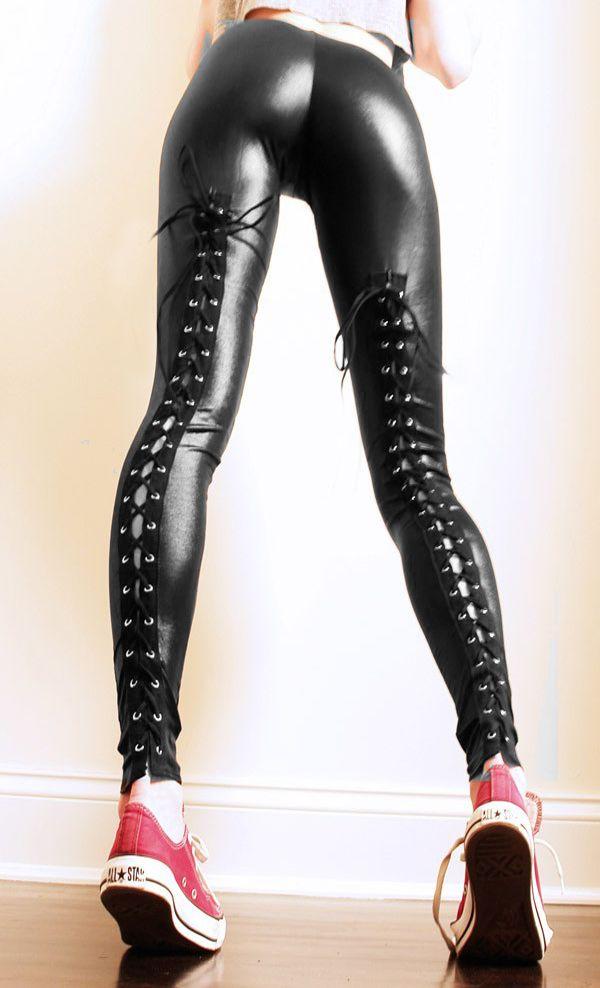 27acf4e0b2122a Black Shiny Wet Look Cut Out Leggings Pants Goth Gothic - Leggings |  RebelsMarket
