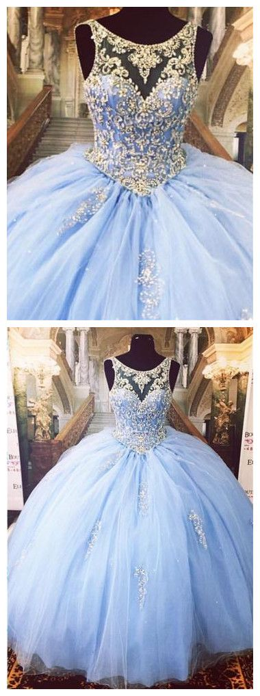 42e5cba7d7ae5 Blue Quinceanera Dresses Vestidos de 15 anos Aqua Stunning Ball Gowns  Spaghetti Straps Beaded Sweetheart Sweet 16 Dress for party dress P0431  #promdresses ...