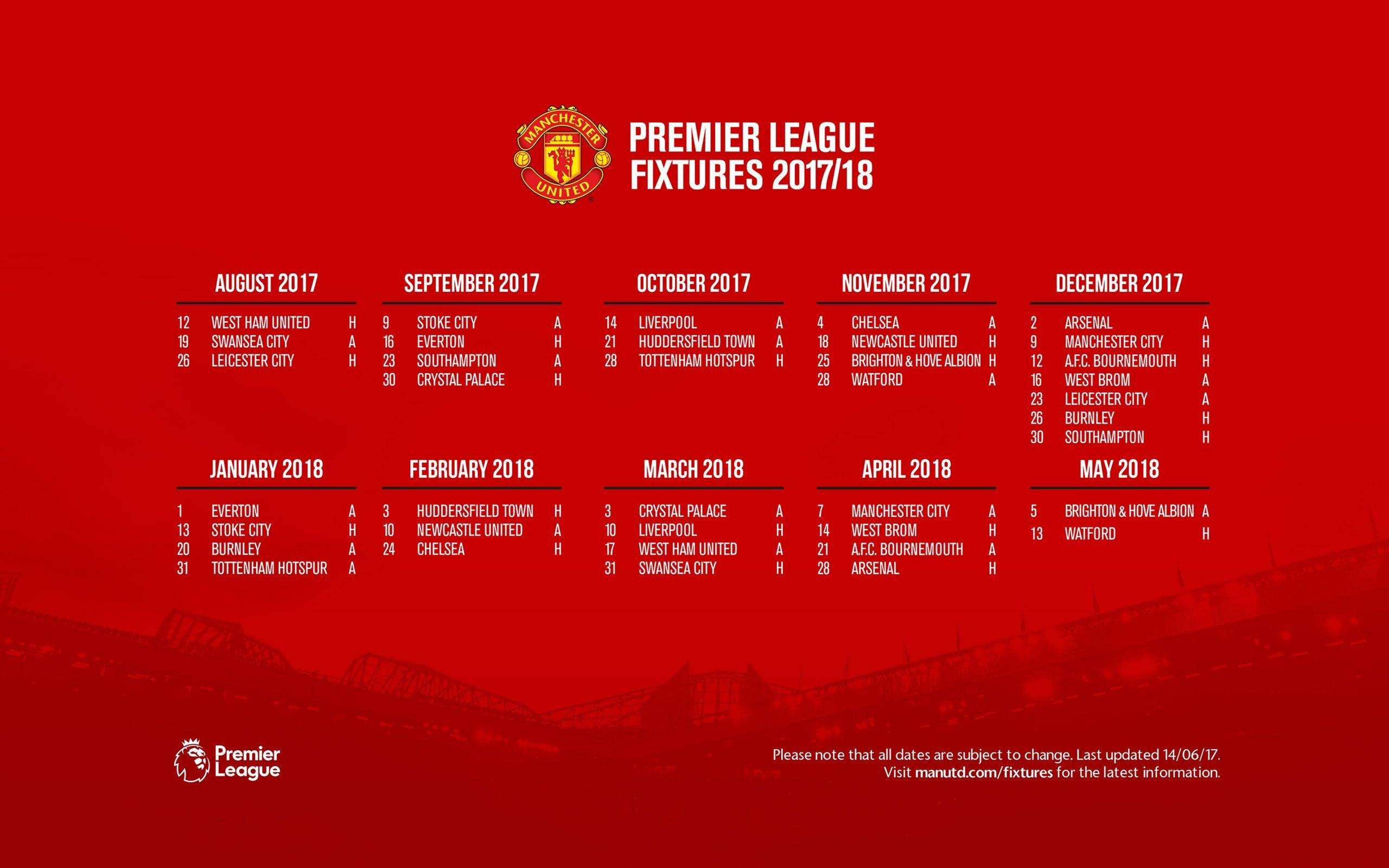 Man united fixtures premier league /19